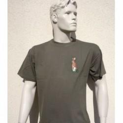 Tee-shirt homme kaki - Petite broderie sur stock