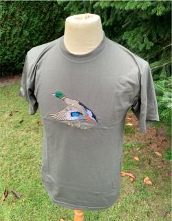 Tee-shirt homme kaki - Grande broderie sur stock