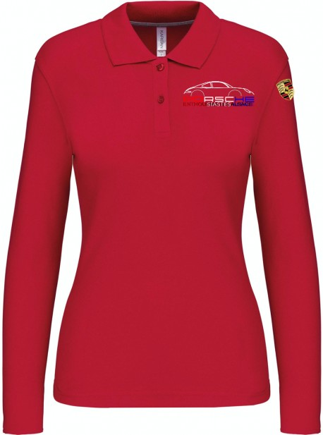 Polo Manches Longues PEA Femme - Rouge